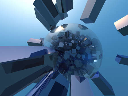cubismo: Blue cubismo en la esfera  Foto de archivo