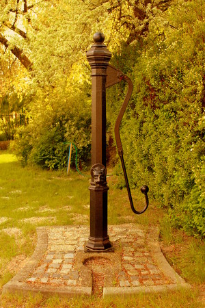 wielkopolska: The old - ornate water pump is standing on a stone base in a green park.