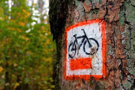 wielkopolska: Information sign on the bike path, Which is a tree in the Wielkopolska National Park.