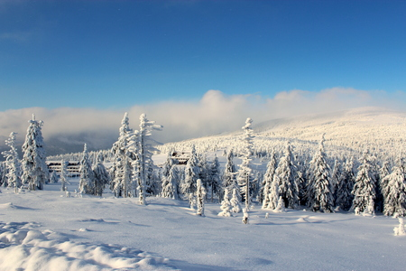 revival: Snowy Pass Karkonoska seen from the hostel Revival to the Polish-Czech border.