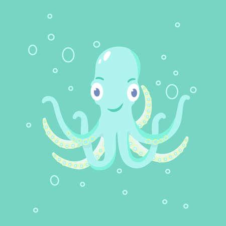Carton octopus. Cute octopus. Vector illustration.