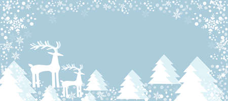 Christmas holiday. Background Blue color and snowflakes Christmas trees. Mom deer and baby deer. Cartoon art.
