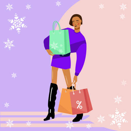 Winter shopping. Cute woman makes shopping for the holidays.