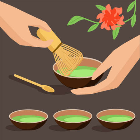 Matcha green tea. Tea ceremony. Flat art. Vector illustration