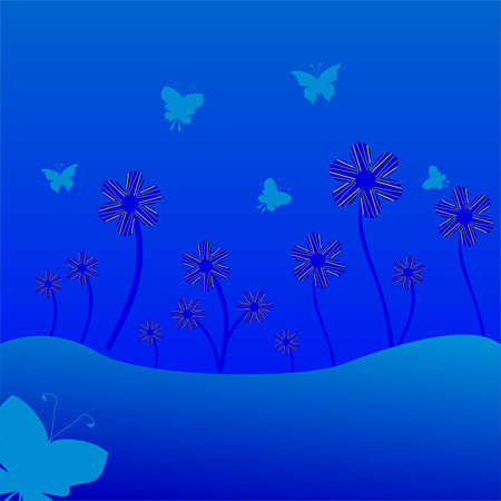 flowerbed: butterflies fly to flowers. vector illustration