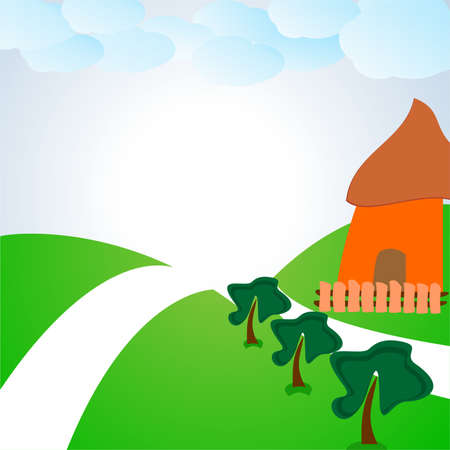 the cabin in the clearing.vector illustration