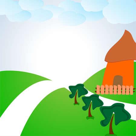veranda: the cabin in the clearing.vector illustration
