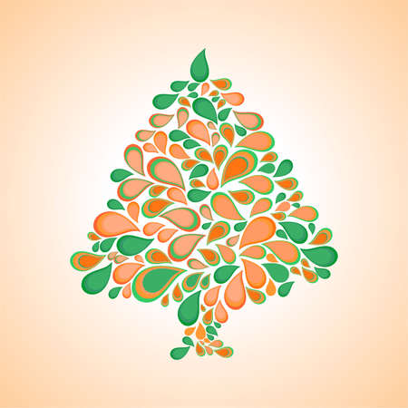 resin: fir on an orange and white background.vector illustration