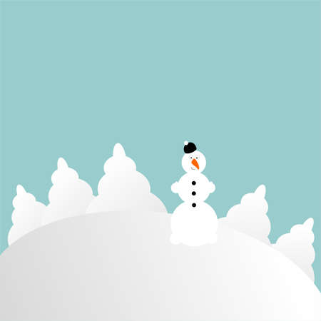 blizzards: abstract snowman on a hill  Illustration