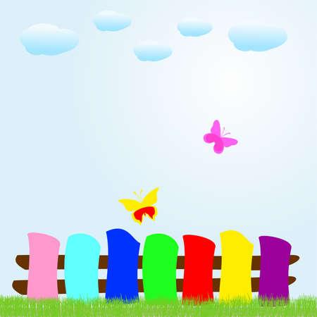 summer day: mariposas del arco iris en un d�a de verano, ilustraci�n vectorial