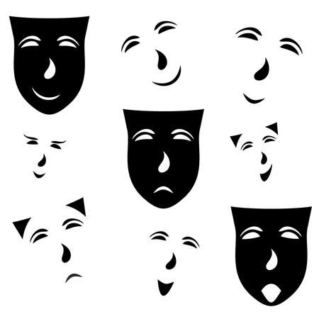 grimace: emotions on a black and white mask on white background ,vector illustration