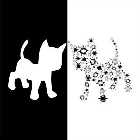 composite: composite abstract black cat,vector illustration Illustration