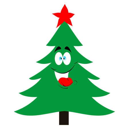 christmas tree illustration: Christmas tree with top star ,vector illustration Illustration
