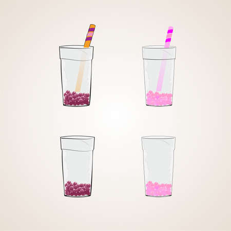 straw: a glass with a straw ,vector illustration