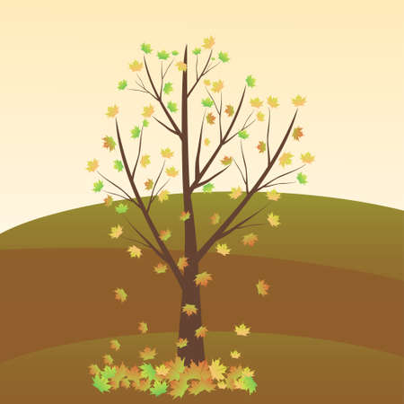 lonely tree: a lonely tree of an autumn day on the meadow ,vector illustration Illustration