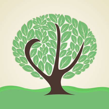 stylized tree: stylized tree at the edge of the green,vector illustration