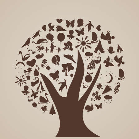 thoughts: abstract tree of thoughts,vector illustration Illustration
