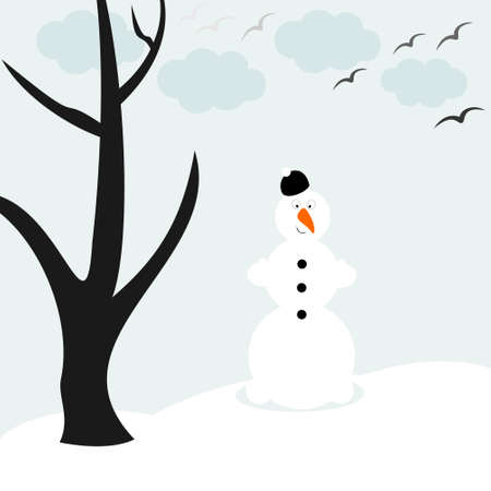 feb: the snowman and the lonely tree in winter,vector illustration