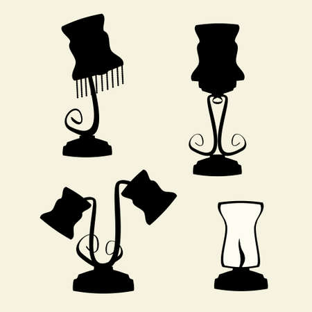 table lamps: icons of table lamps on the background,vector illustration