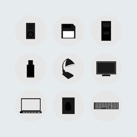 floppy drive: computer icons on the background,vector illustration