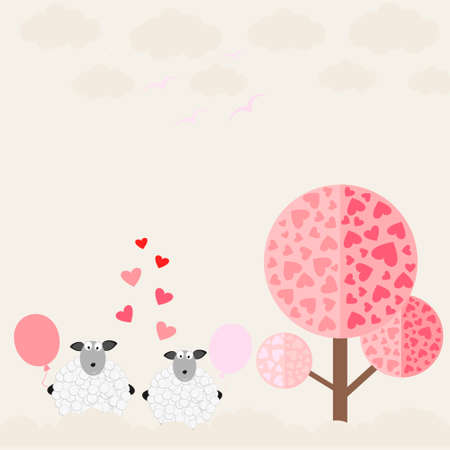 sheep love: love the sheep with the tree love,vector illustration Illustration