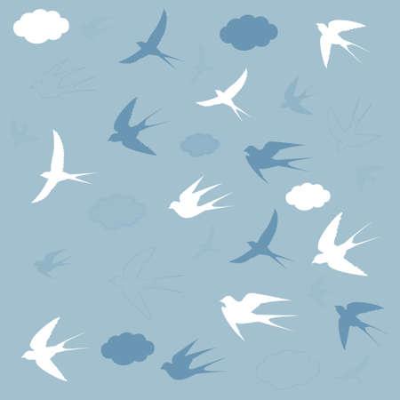 tragos: golondrinas vuelan en el cielo, ilustración vectorial Vectores