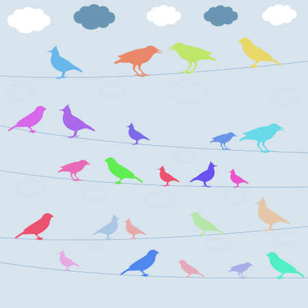 starling: birds color icons on blue background,vector illustration