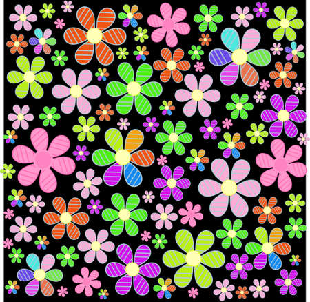 fabulous: a fabulous field of colorful flowers on the background,illustration Illustration
