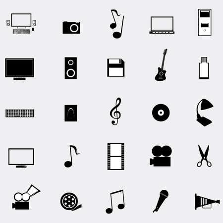 tv unit: Black universal web icons set on gray background, vector illustration