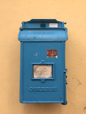 Blue mailbox in Cuba Stock Photo