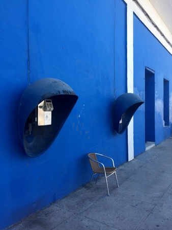 Payphone in blue