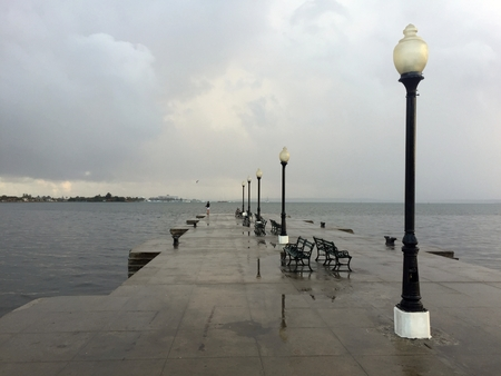 After the rain, pier view in Cienfuegos Stock Photo