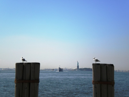 Statue of Liberty from Battery Park Stock Photo