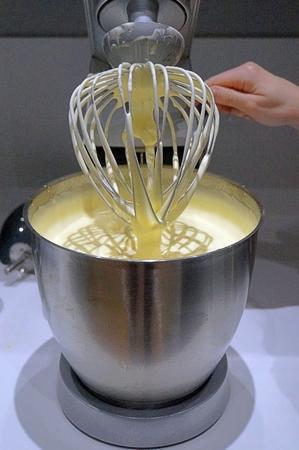 Kneading machine, kitchen view, preparing a cake
