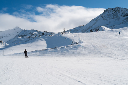 Ski slope in Val Thorens, trois vallees complex, France