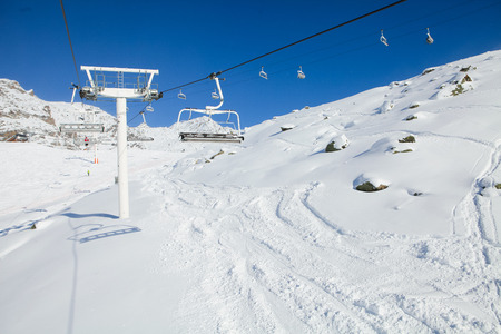 Ski slope in Val Thorens, trois vallees complex, France photo