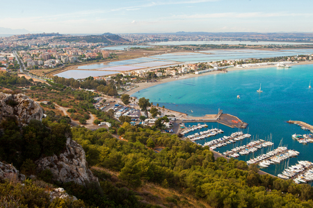 View of Cagliari and Poetto beach from above, Sardinia, Italy