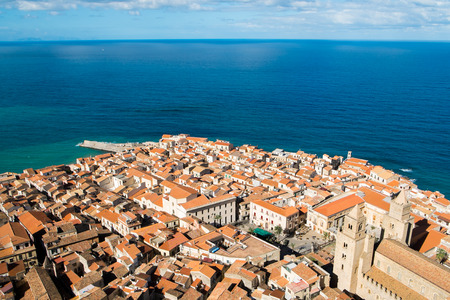 pictoresque: Aerial view of Cefalu old town, Sicily, Italy