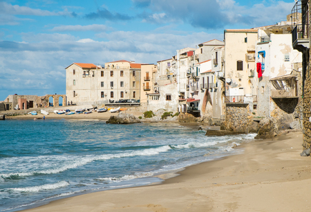 pictoresque: View of Cefalu old town from the sea, Sicily, Italy