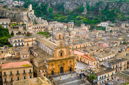 pictoresque: Aerial view of Modica old town with San Pietro Cathedral, Sicily, Italy