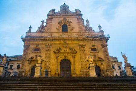 pietro: San Pietro cathedral by night in Modica, Sicily, Italy Stock Photo