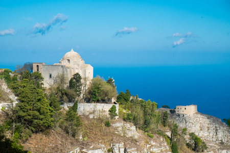 erice: Panorma from Erice with church, Sicily, Italy Stock Photo