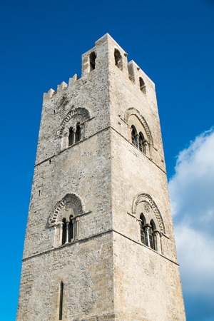 erice: Erice cathedral tower, Sicily, Italy Stock Photo