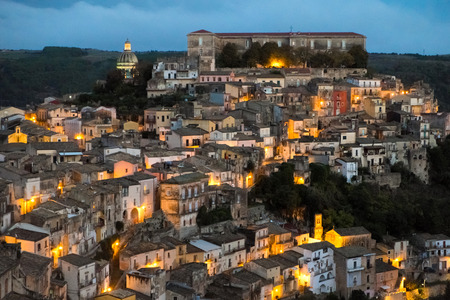 ragusa: Aerial view of Ragusa Ibla by night, SIcily, Italy