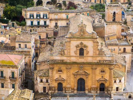 pietro: Aerial view of Modica old town with San Pietro Cathedral, Sicily, Italy