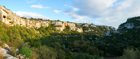 necropolis: Cava Ispica canyon and necropolis in Modica, Sicily, Italy Stock Photo
