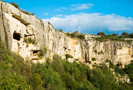 cava: Cava Ispica canyon and necropolis in Modica, Sicily, Italy Stock Photo