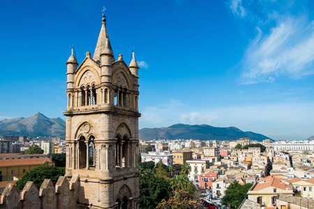 Aerial view of Palermo from Santa Maria Assunta cathedral in Palermo, Sicily, Italy photo