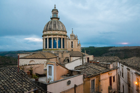ragusa: St George cathedral dome in Ragusa Ibla, Sicily, Italy