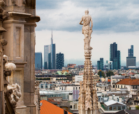 Aerial view of Milan  from Duomo roof terrace, Italy Editorial